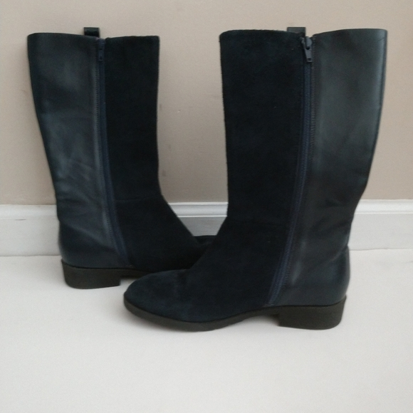 Girls Suede Navy Blue Boots Size
